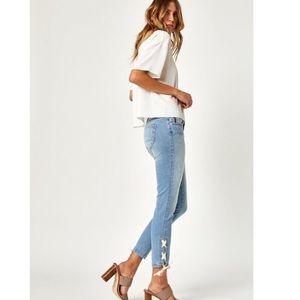 Mavi Adriana Ankle Lace-up Light Wash Skinny Jeans